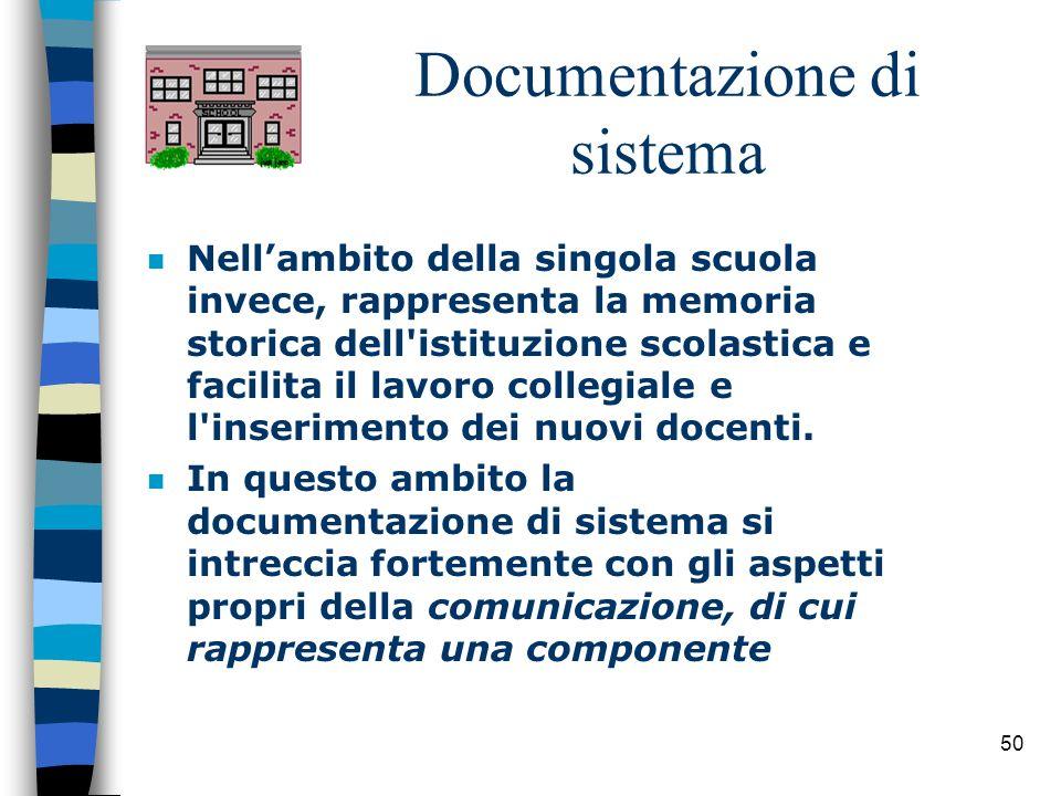 50 Documentazione di sistema n Nellambito della singola scuola invece, rappresenta la memoria storica dell'istituzione scolastica e facilita il lavoro