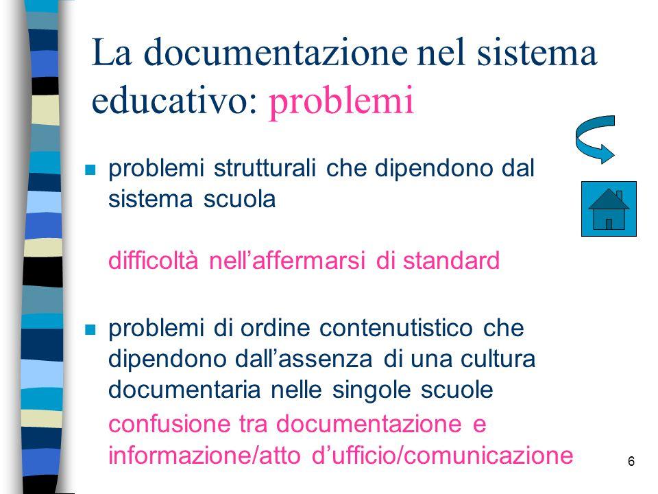 6 La documentazione nel sistema educativo: problemi n problemi strutturali che dipendono dal sistema scuola difficoltà nellaffermarsi di standard n pr