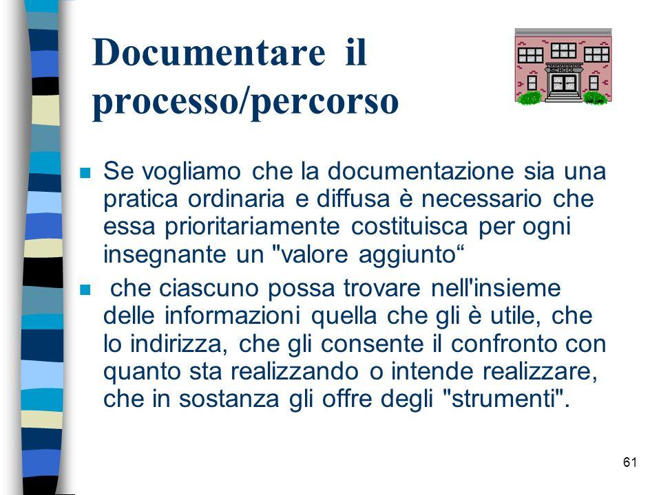61 Documentare il processo/percorso n Se vogliamo che la documentazione sia una pratica ordinaria e diffusa è necessario che essa prioritariamente cos