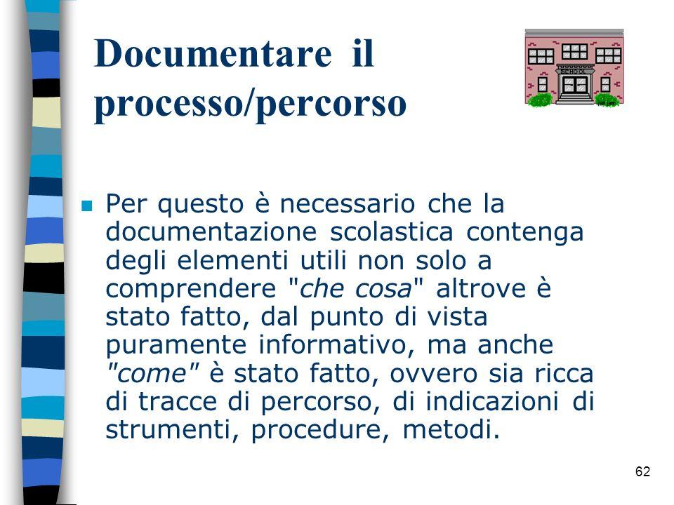 62 Documentare il processo/percorso n Per questo è necessario che la documentazione scolastica contenga degli elementi utili non solo a comprendere