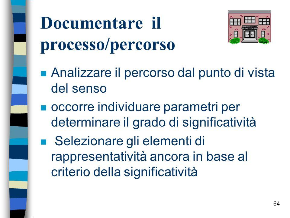 64 Documentare il processo/percorso n Analizzare il percorso dal punto di vista del senso n occorre individuare parametri per determinare il grado di