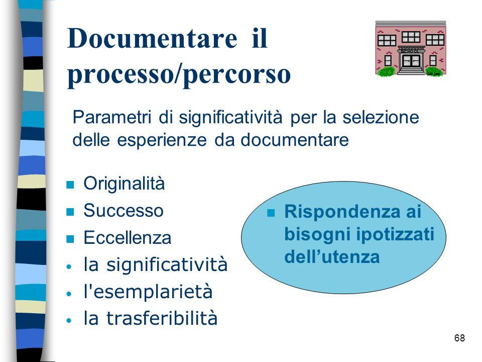 68 Documentare il processo/percorso n Originalità n Successo n Eccellenza la significatività l'esemplarietà la trasferibilità n Rispondenza ai bisogni