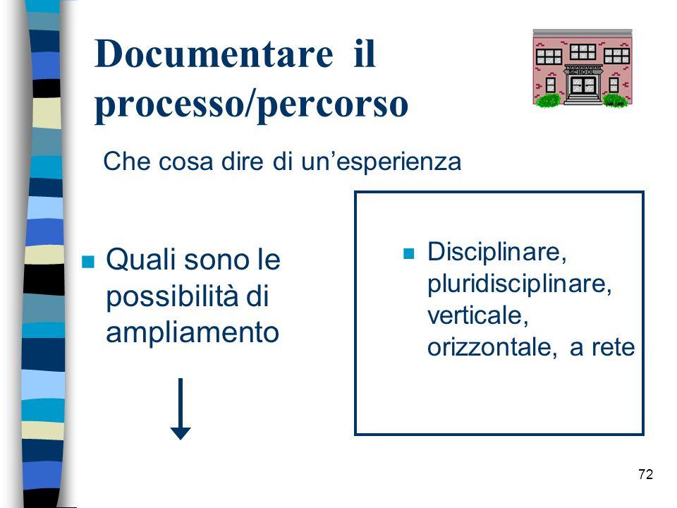 72 Documentare il processo/percorso n Quali sono le possibilità di ampliamento n Disciplinare, pluridisciplinare, verticale, orizzontale, a rete Che c
