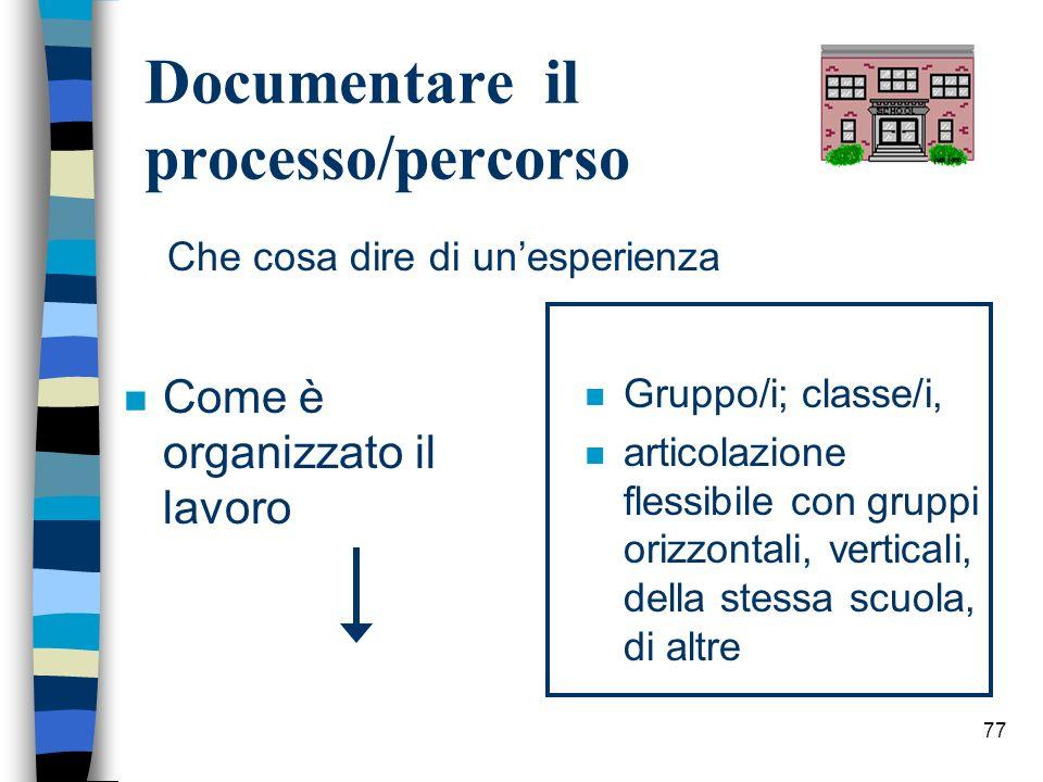 77 Documentare il processo/percorso n Come è organizzato il lavoro n Gruppo/i; classe/i, n articolazione flessibile con gruppi orizzontali, verticali,