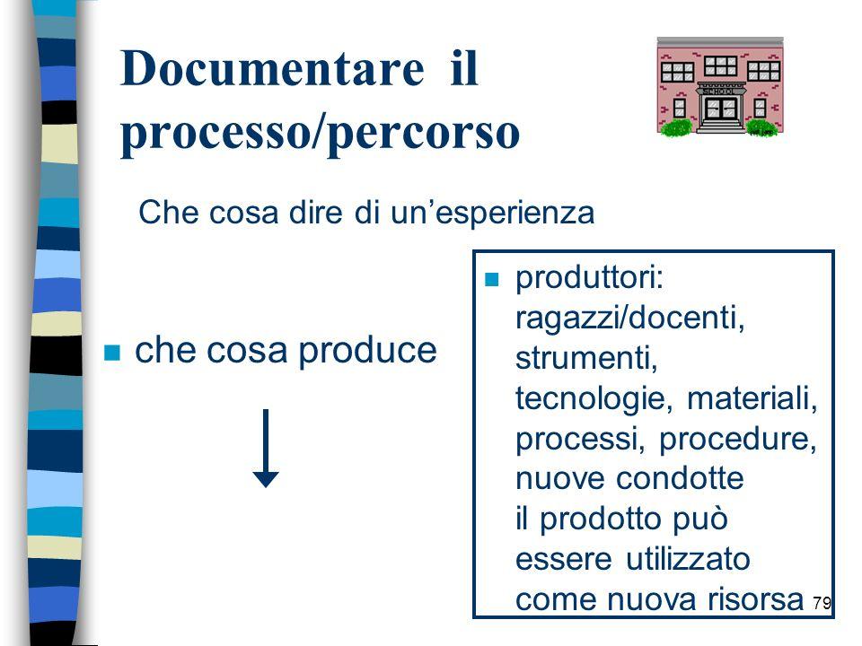 79 Documentare il processo/percorso n che cosa produce n produttori: ragazzi/docenti, strumenti, tecnologie, materiali, processi, procedure, nuove con
