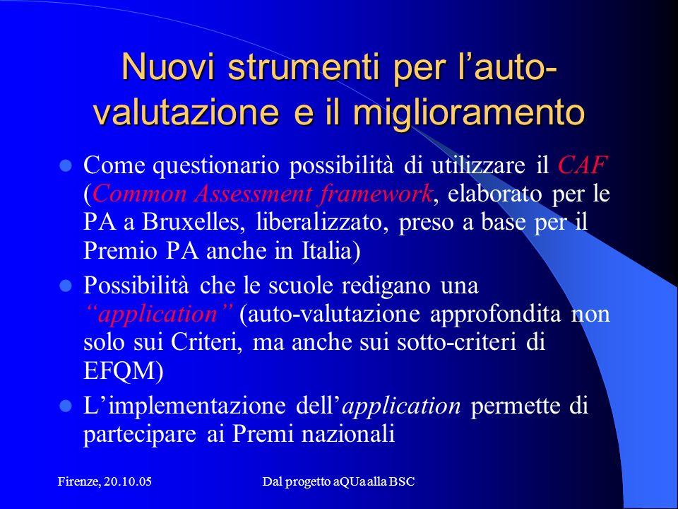 Firenze, 20.10.05Dal progetto aQUa alla BSC Nuovi strumenti per lauto- valutazione e il miglioramento Come questionario possibilità di utilizzare il C