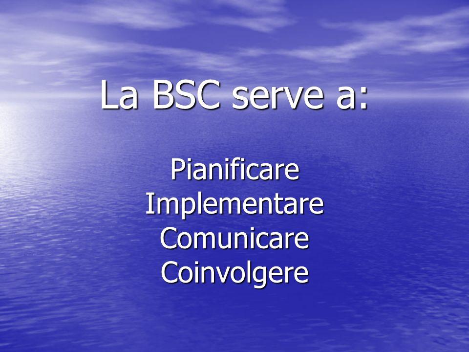 La BSC serve a: Pianificare Implementare Comunicare Coinvolgere
