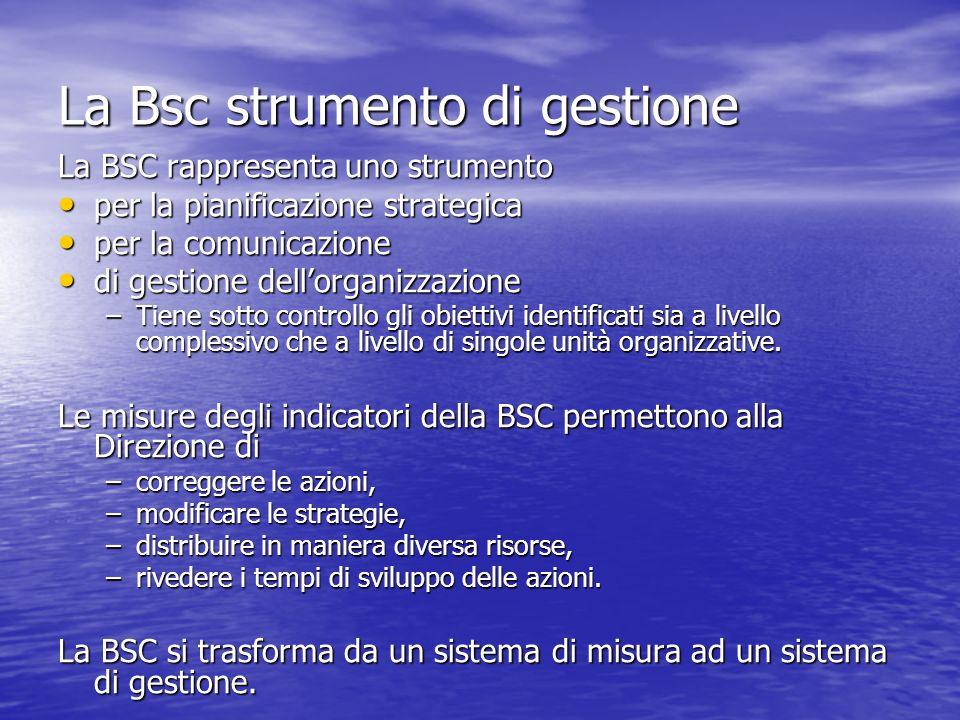 La Bsc strumento di gestione La BSC rappresenta uno strumento per la pianificazione strategica per la pianificazione strategica per la comunicazione p
