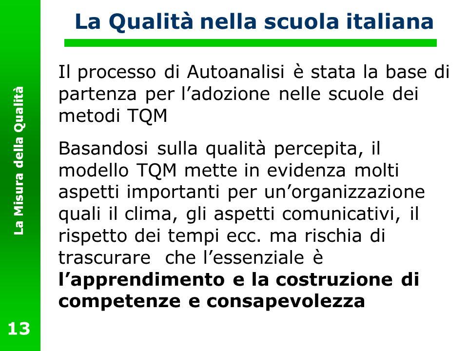 La Misura della Qualità 13 La Qualità nella scuola italiana Il processo di Autoanalisi è stata la base di partenza per ladozione nelle scuole dei meto