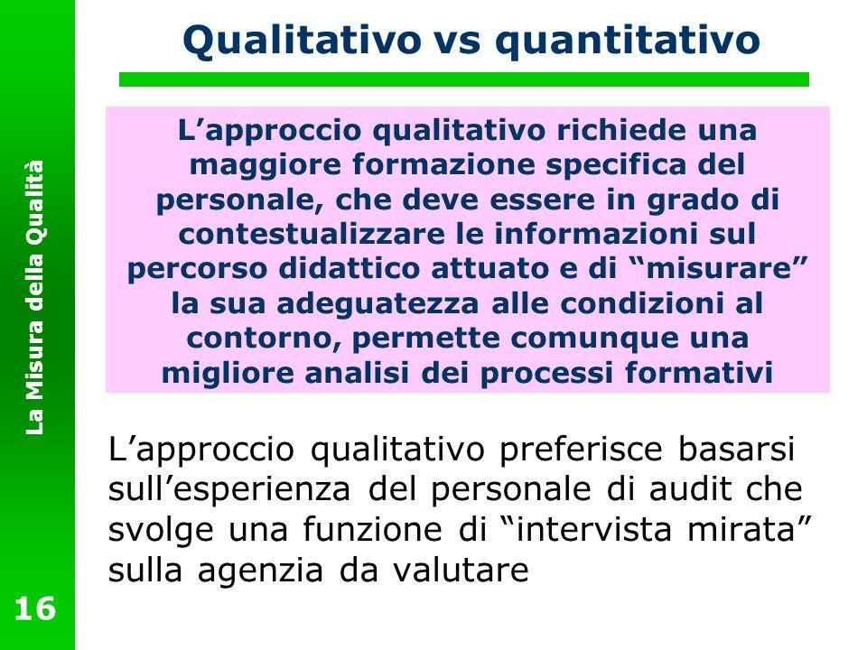 La Misura della Qualità 16 Qualitativo vs quantitativo L approccio quantitativo cerca di sviluppare un sistema di misura tale da quantificare numerica
