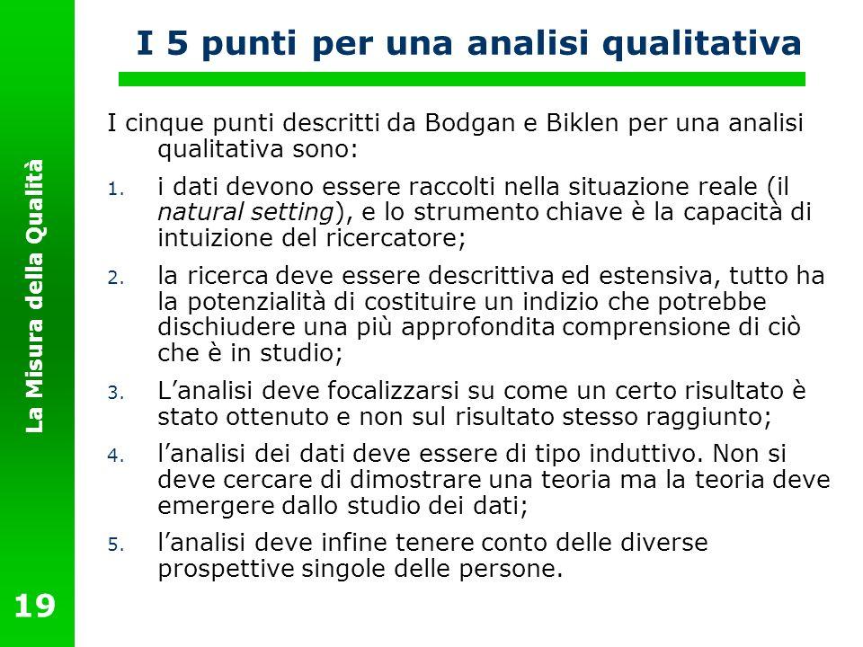 La Misura della Qualità 19 I 5 punti per una analisi qualitativa I cinque punti descritti da Bodgan e Biklen per una analisi qualitativa sono: 1. i da