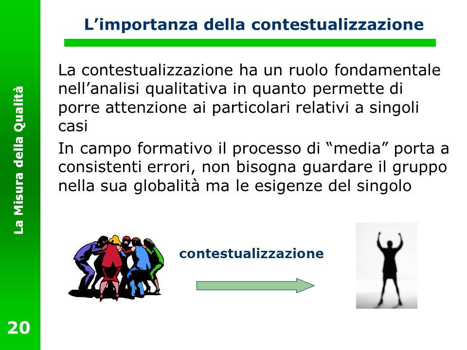 La Misura della Qualità 20 Limportanza della contestualizzazione La contestualizzazione ha un ruolo fondamentale nellanalisi qualitativa in quanto per