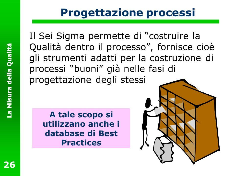 La Misura della Qualità 26 Progettazione processi Il Sei Sigma permette di costruire la Qualità dentro il processo, fornisce cioè gli strumenti adatti