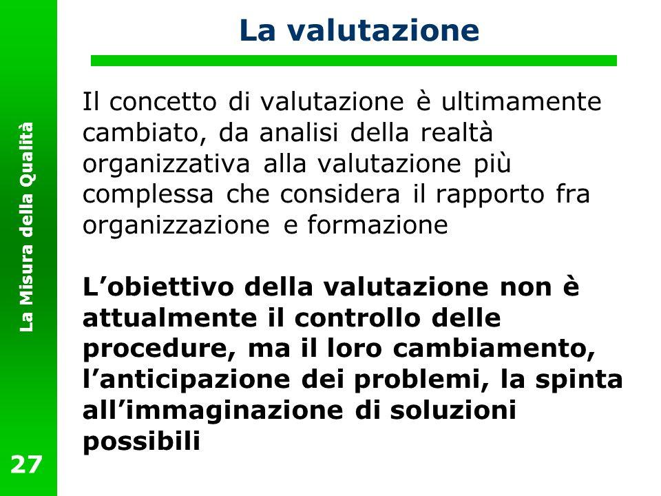 La Misura della Qualità 27 La valutazione Il concetto di valutazione è ultimamente cambiato, da analisi della realtà organizzativa alla valutazione pi