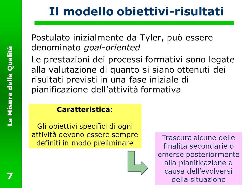 La Misura della Qualità 7 Il modello obiettivi-risultati Postulato inizialmente da Tyler, può essere denominato goal-oriented Le prestazioni dei proce