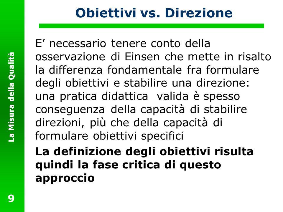 La Misura della Qualità 9 Obiettivi vs. Direzione E necessario tenere conto della osservazione di Einsen che mette in risalto la differenza fondamenta