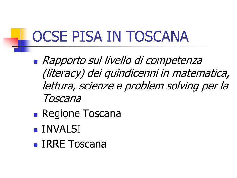 OCSE PISA IN TOSCANA Rapporto sul livello di competenza (literacy) dei quindicenni in matematica, lettura, scienze e problem solving per la Toscana Regione Toscana INVALSI IRRE Toscana
