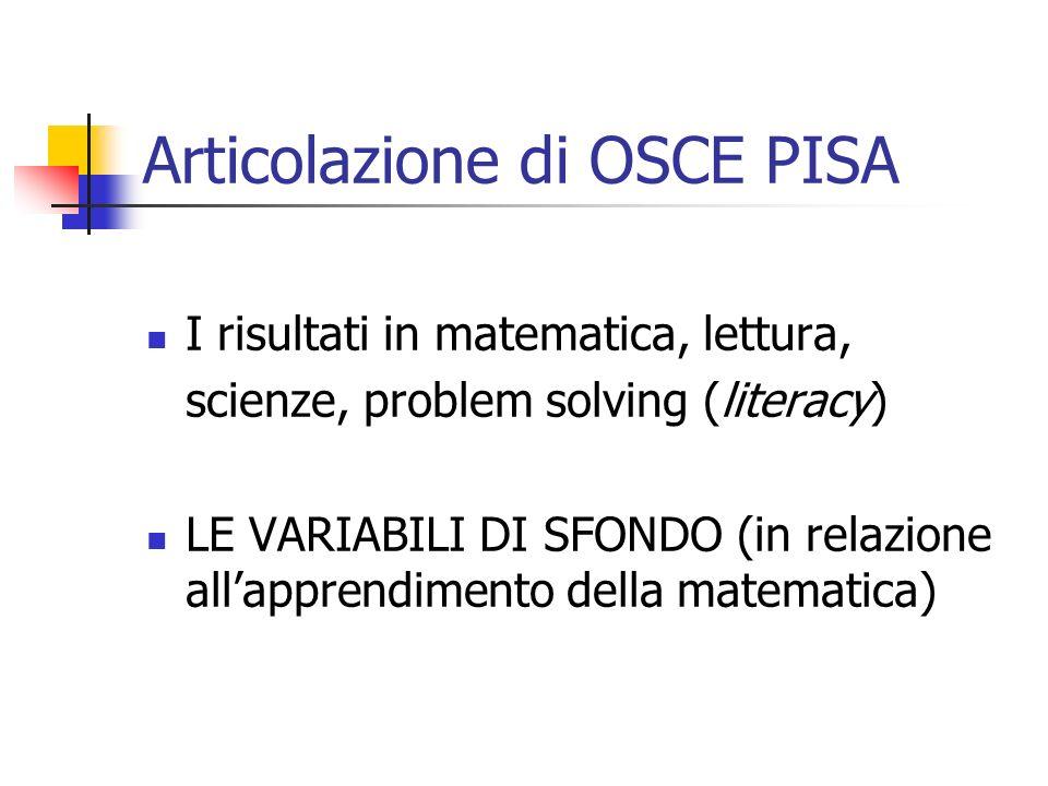 Articolazione di OSCE PISA I risultati in matematica, lettura, scienze, problem solving (literacy) LE VARIABILI DI SFONDO (in relazione allapprendimento della matematica)
