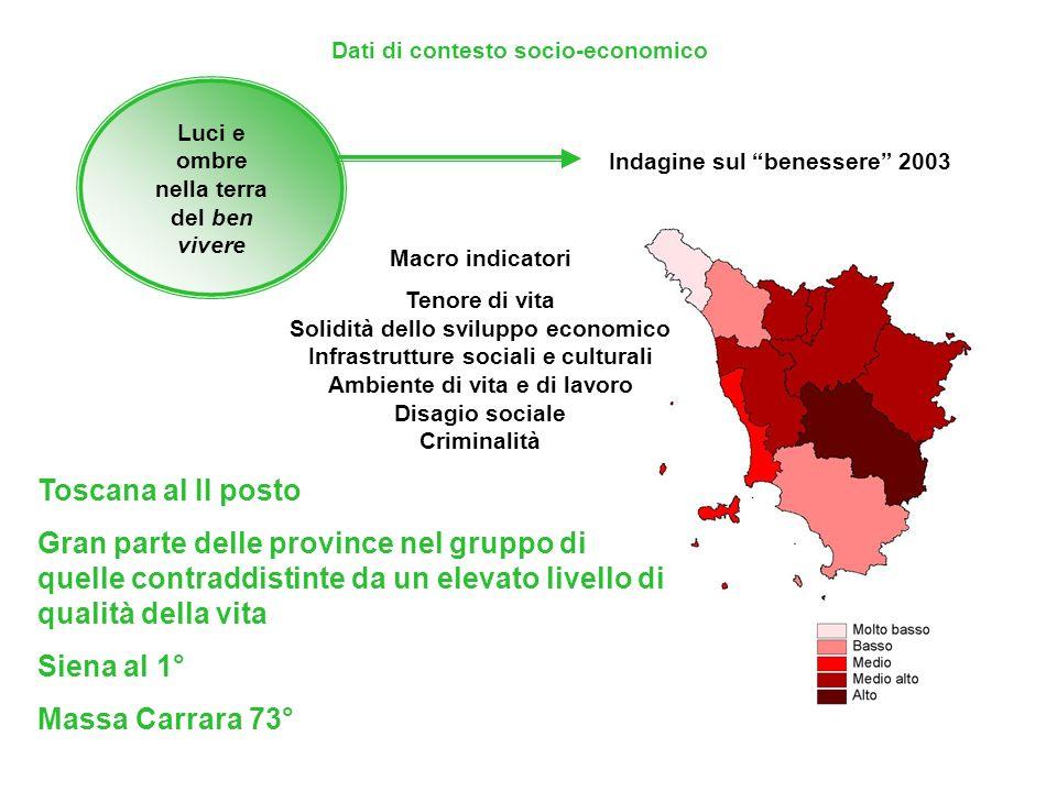 Luci e ombre nella terra del ben vivere Un punto di attenzione: loccupazione giovanile Dati di contesto socio-economico: 2003 sono disoccupati 17 giovani su 100 in età 15-19, se in possesso di diploma secondario inferiore; 21 giovani su 100 in età 20-24, se in possesso di diploma secondario superiore e 20 giovani su 100 in età 25-29, se in possesso di laurea Incidenza della piccola e media impresa tasso di disoccupazione giovanile: 16,2% in Toscana 14,4% al Centro-Nord in particolare il 22% al Centro, il 13,3% nel Nord Ovest, l8% nel Nord Est.
