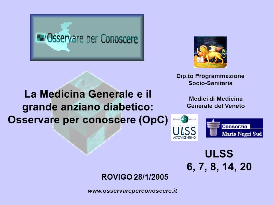 La Medicina Generale e il grande anziano diabetico: Osservare per conoscere (OpC) ROVIGO 28/1/2005 www.osservareperconoscere.it Dip.to Programmazione