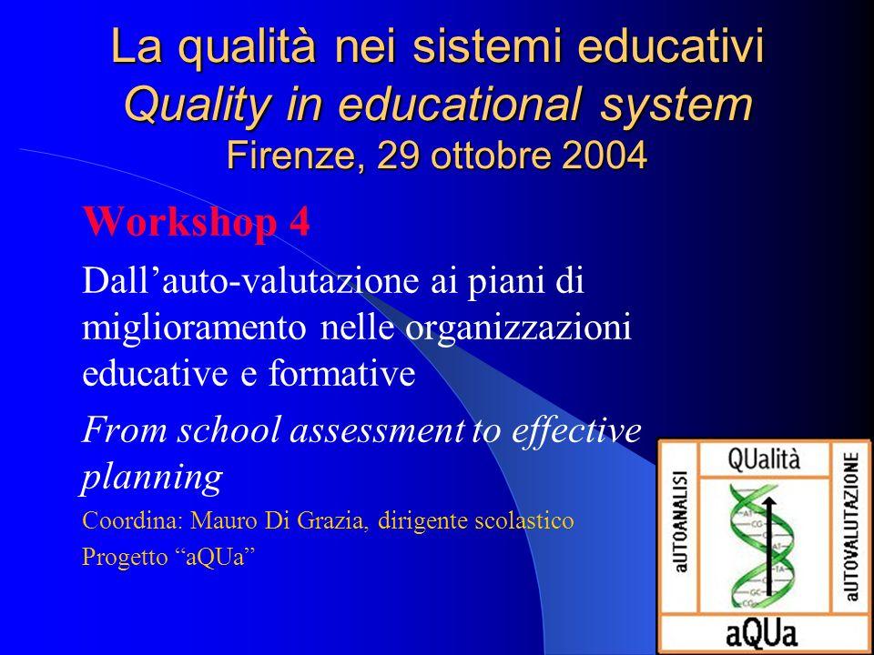 La qualità nei sistemi educativi Quality in educational system Firenze, 29 ottobre 2004 Workshop 4 Dallauto-valutazione ai piani di miglioramento nell
