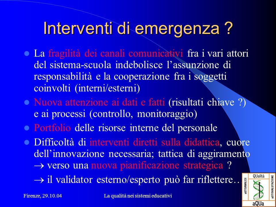 Firenze, 29.10.04La qualità nei sistemi educativi Interventi di emergenza ? La fragilità dei canali comunicativi fra i vari attori del sistema-scuola