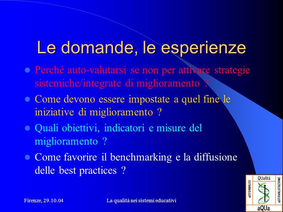 Firenze, 29.10.04La qualità nei sistemi educativi Le domande, le esperienze Perché auto-valutarsi se non per attivare strategie sistemiche/integrate d