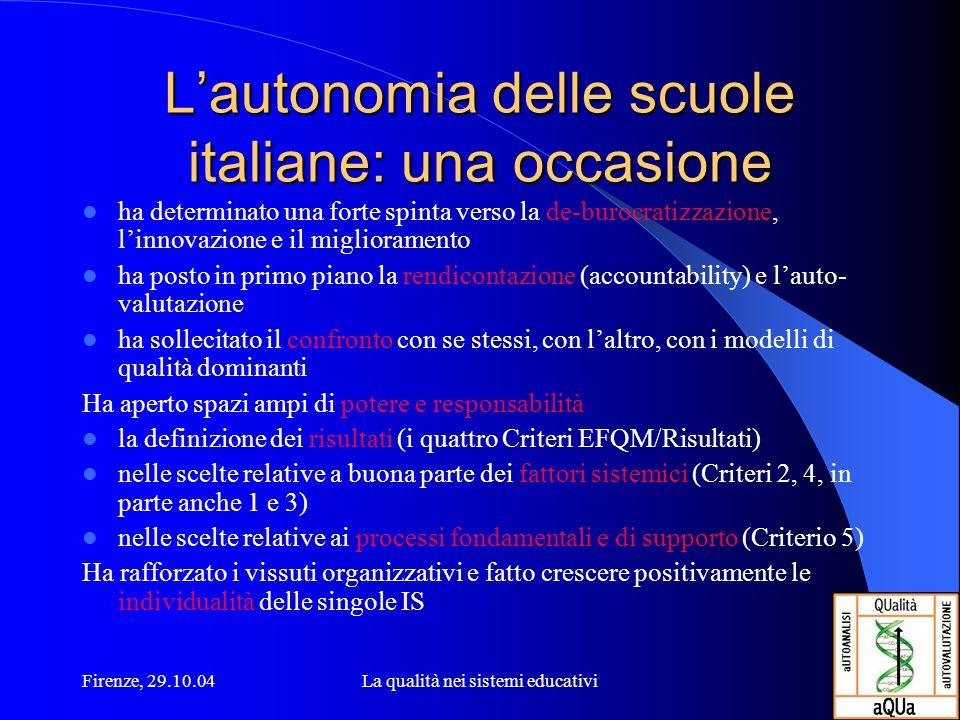 Firenze, 29.10.04La qualità nei sistemi educativi Lautonomia delle scuole italiane: una occasione ha determinato una forte spinta verso la de-burocrat