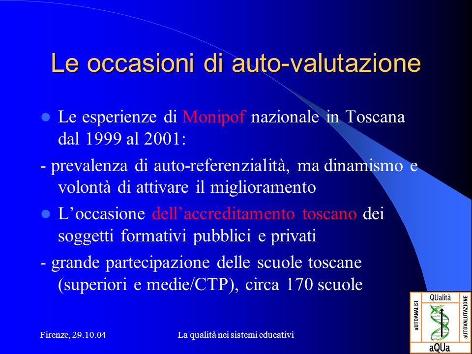 Firenze, 29.10.04La qualità nei sistemi educativi Le occasioni di auto-valutazione Le esperienze di Monipof nazionale in Toscana dal 1999 al 2001: - p