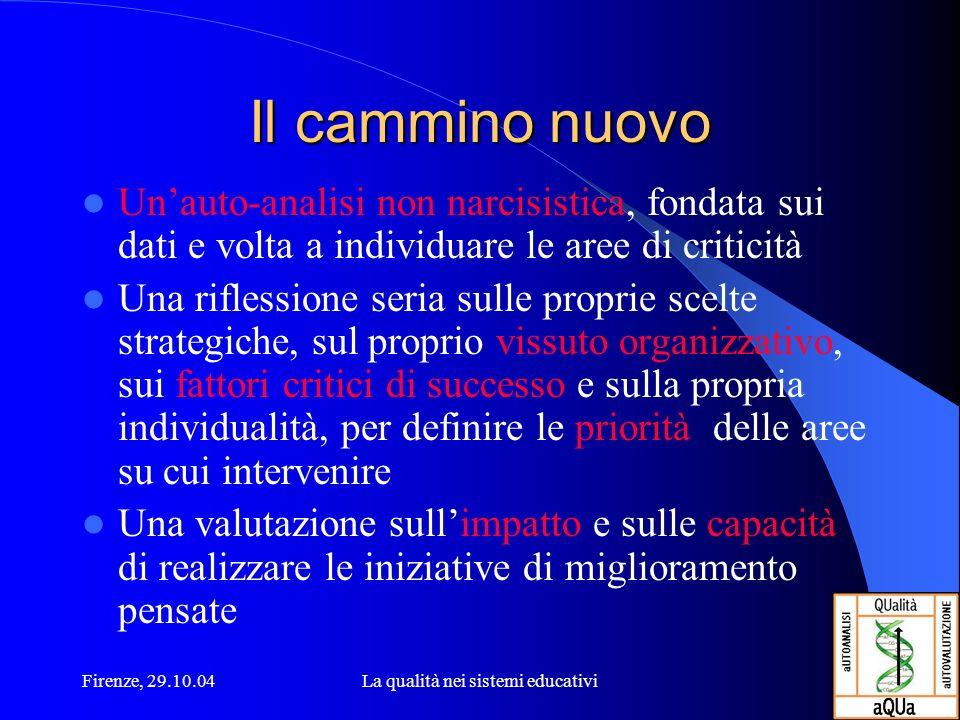 Firenze, 29.10.04La qualità nei sistemi educativi Il cammino nuovo Unauto-analisi non narcisistica, fondata sui dati e volta a individuare le aree di
