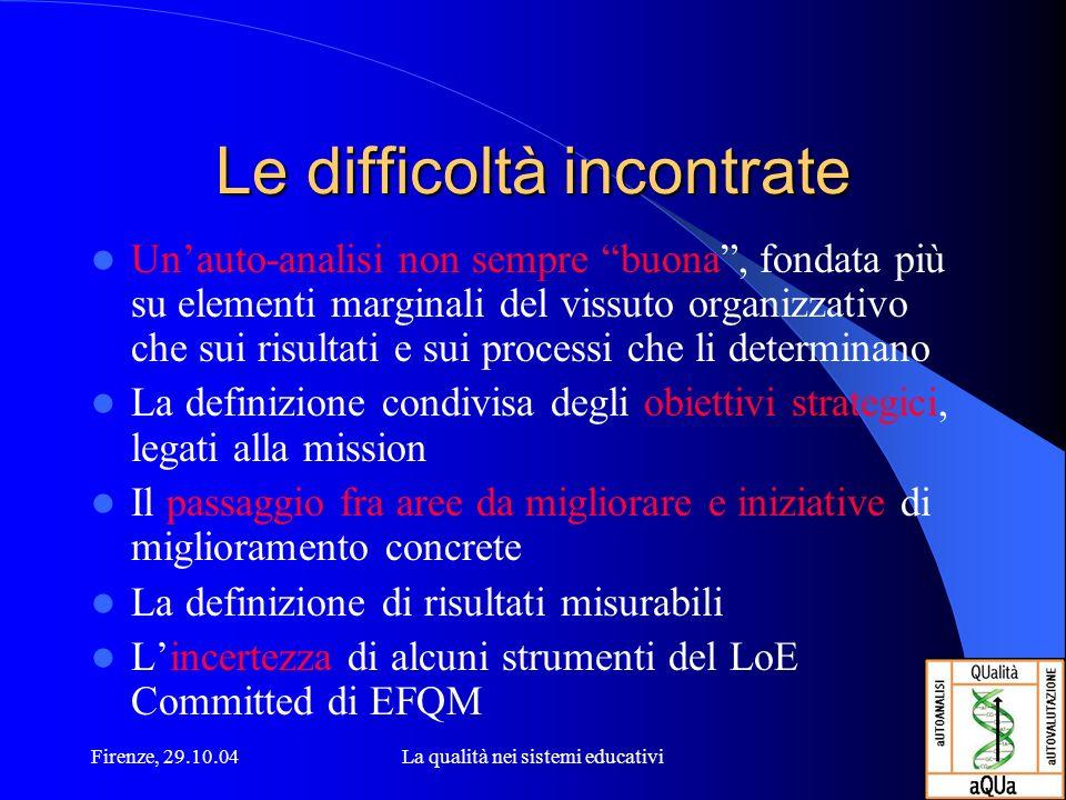 Firenze, 29.10.04La qualità nei sistemi educativi Le difficoltà incontrate Unauto-analisi non sempre buona, fondata più su elementi marginali del viss