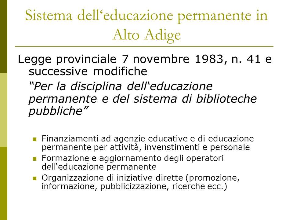 Sistema delleducazione permanente in Alto Adige Legge provinciale 7 novembre 1983, n. 41 e successive modifiche Per la disciplina delleducazione perma