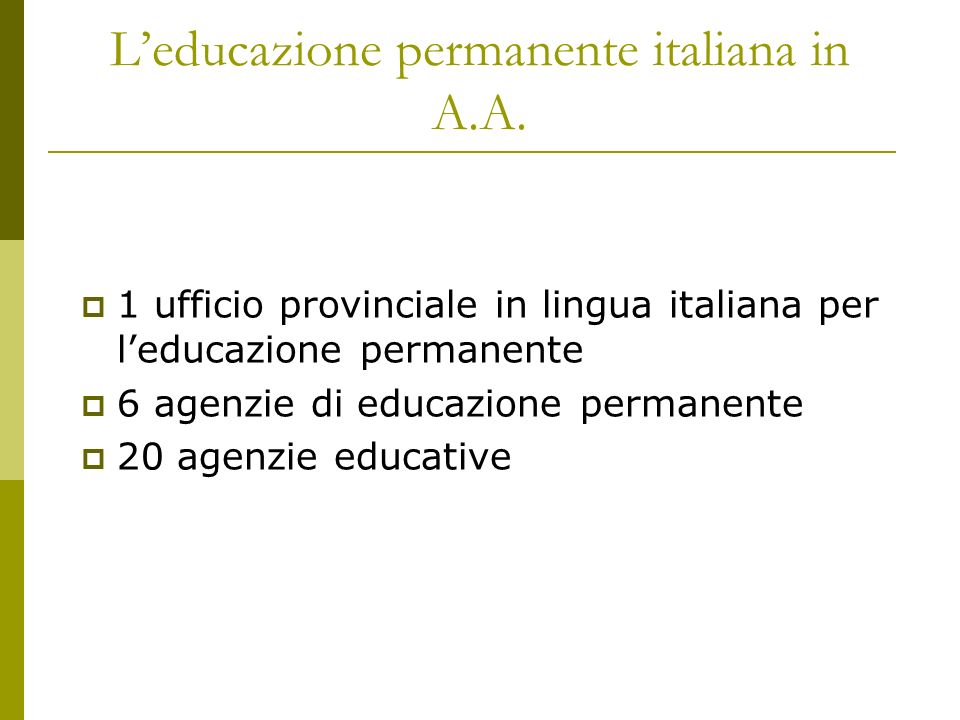 Leducazione permanente italiana in A.A.