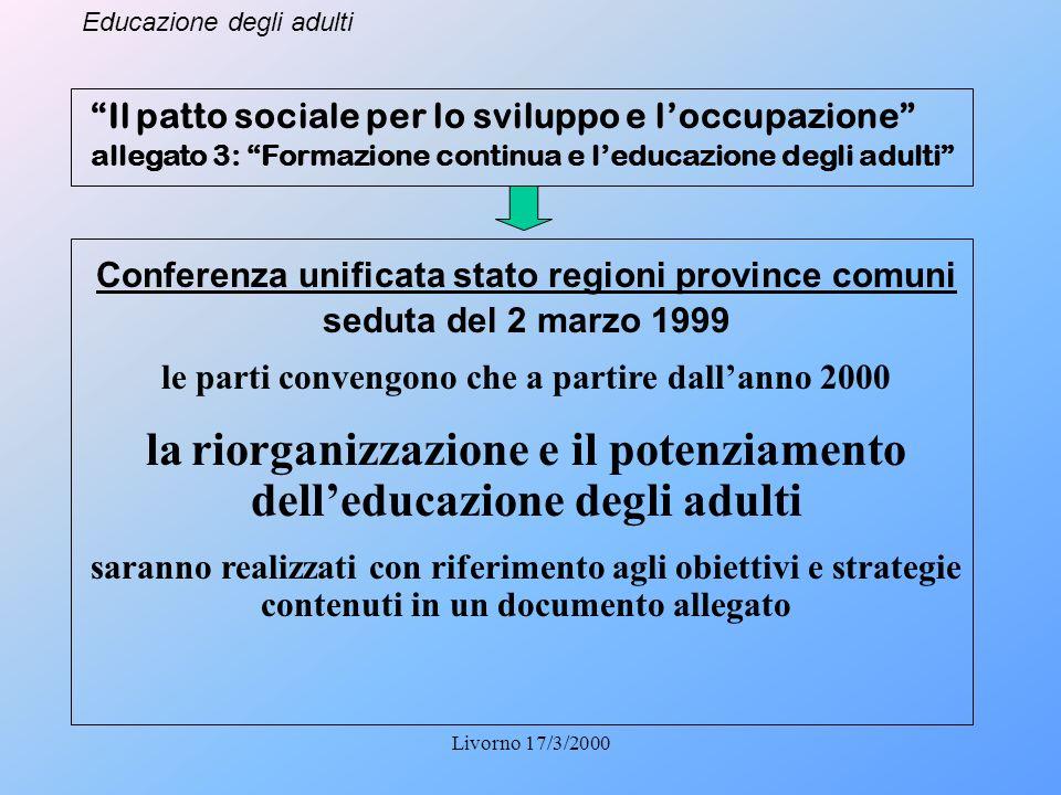 Educazione degli adulti Livorno 17/3/2000 Il patto sociale per lo sviluppo e loccupazione allegato 3: Formazione continua e leducazione degli adulti C
