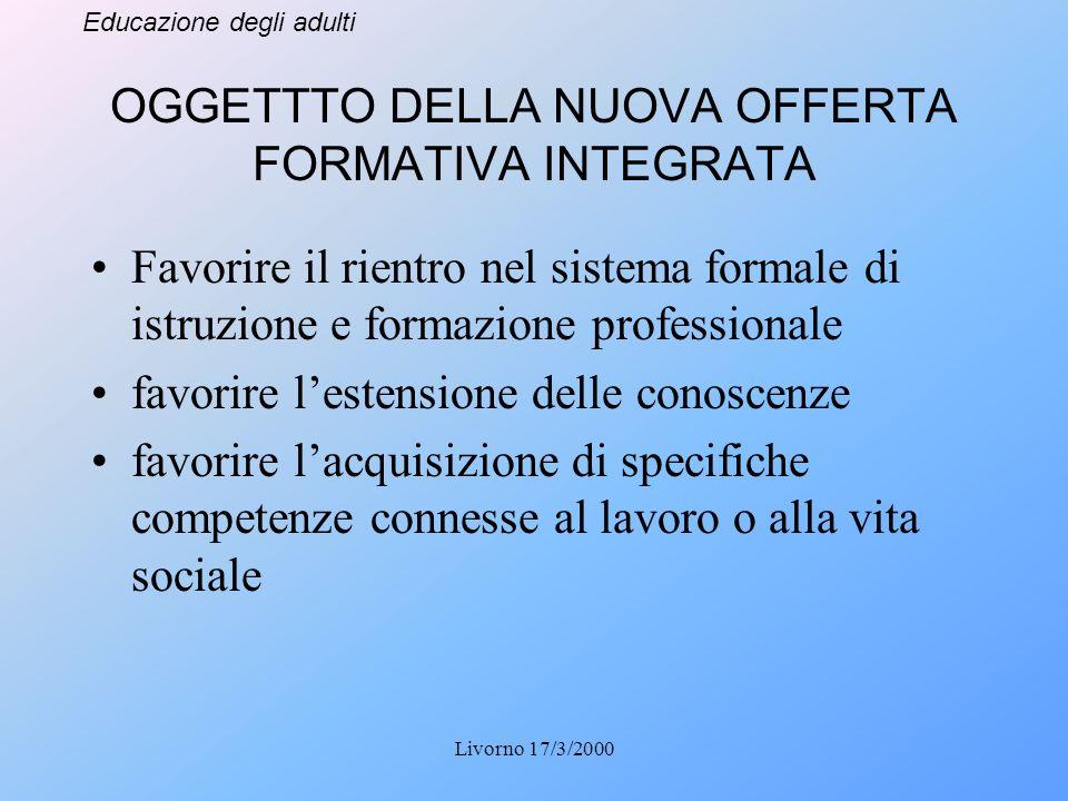 Educazione degli adulti Livorno 17/3/2000 OGGETTTO DELLA NUOVA OFFERTA FORMATIVA INTEGRATA Favorire il rientro nel sistema formale di istruzione e for