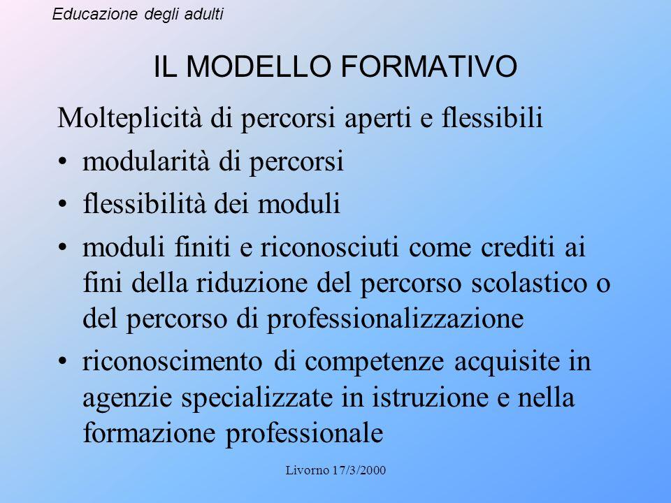 Educazione degli adulti Livorno 17/3/2000 IL MODELLO FORMATIVO Molteplicità di percorsi aperti e flessibili modularità di percorsi flessibilità dei mo