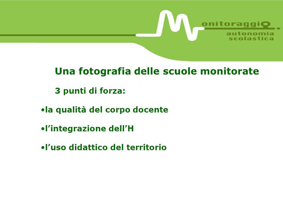 Una fotografia delle scuole monitorate 3 punti di forza: la qualità del corpo docente lintegrazione dellH luso didattico del territorio