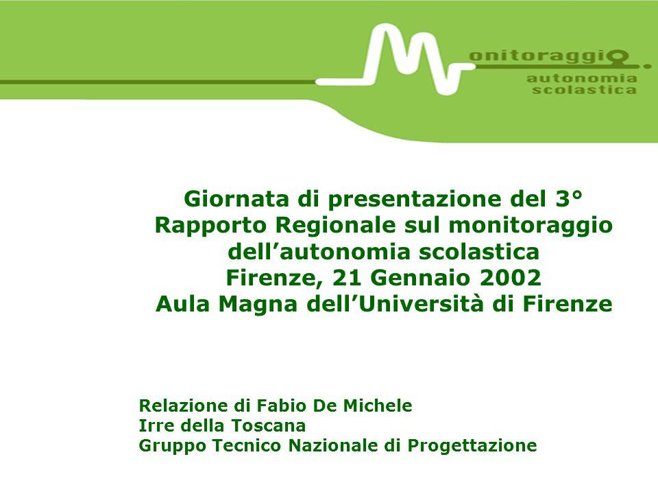 Giornata di presentazione del 3° Rapporto Regionale sul monitoraggio dellautonomia scolastica Firenze, 21 Gennaio 2002 Aula Magna dellUniversità di Fi