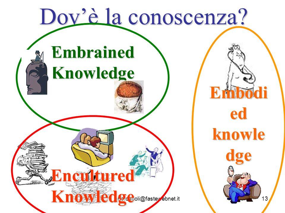 luciano.cerioli@fastewebnet.it13 Dovè la conoscenza? Embodi ed knowle dge Encultured Knowledge Embrained Knowledge