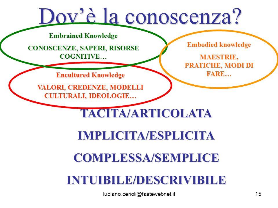 luciano.cerioli@fastewebnet.it15 Dovè la conoscenza? Encultured Knowledge VALORI, CREDENZE, MODELLI CULTURALI, IDEOLOGIE… Embrained Knowledge CONOSCEN