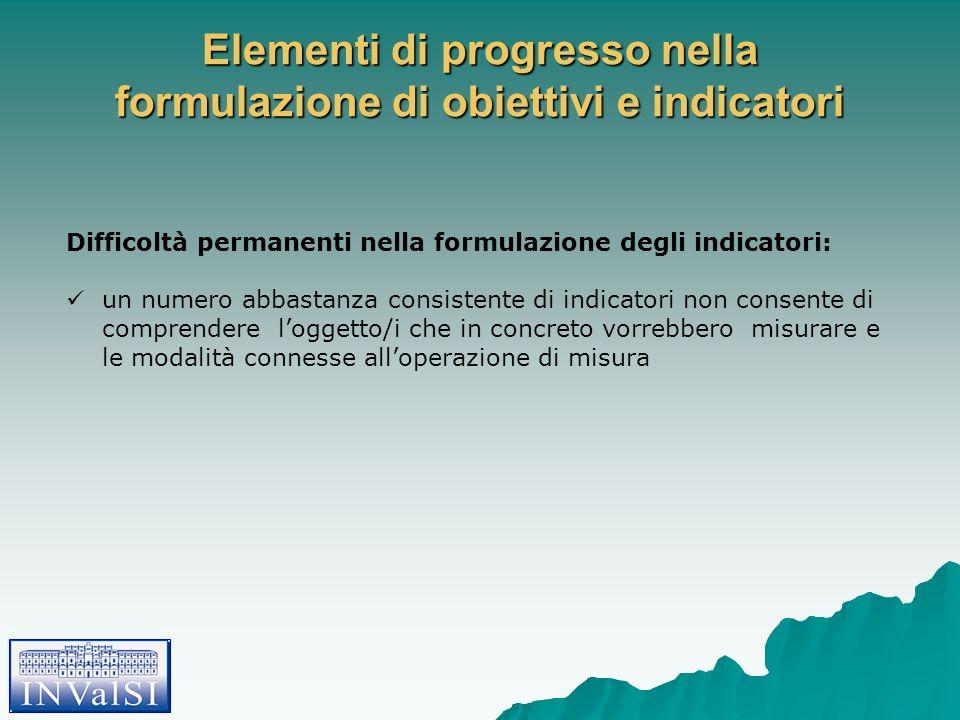 Elementi di progresso nella formulazione di obiettivi e indicatori Difficoltà permanenti nella formulazione degli indicatori: un numero abbastanza con