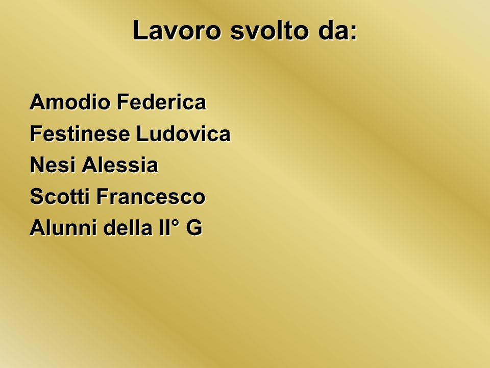 Lavoro svolto da: Amodio Federica Festinese Ludovica Nesi Alessia Scotti Francesco Alunni della II° G