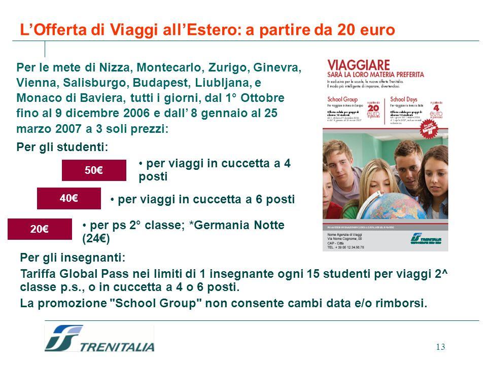 13 LOfferta di Viaggi allEstero: a partire da 20 euro Per le mete di Nizza, Montecarlo, Zurigo, Ginevra, Vienna, Salisburgo, Budapest, Liubljana, e Mo