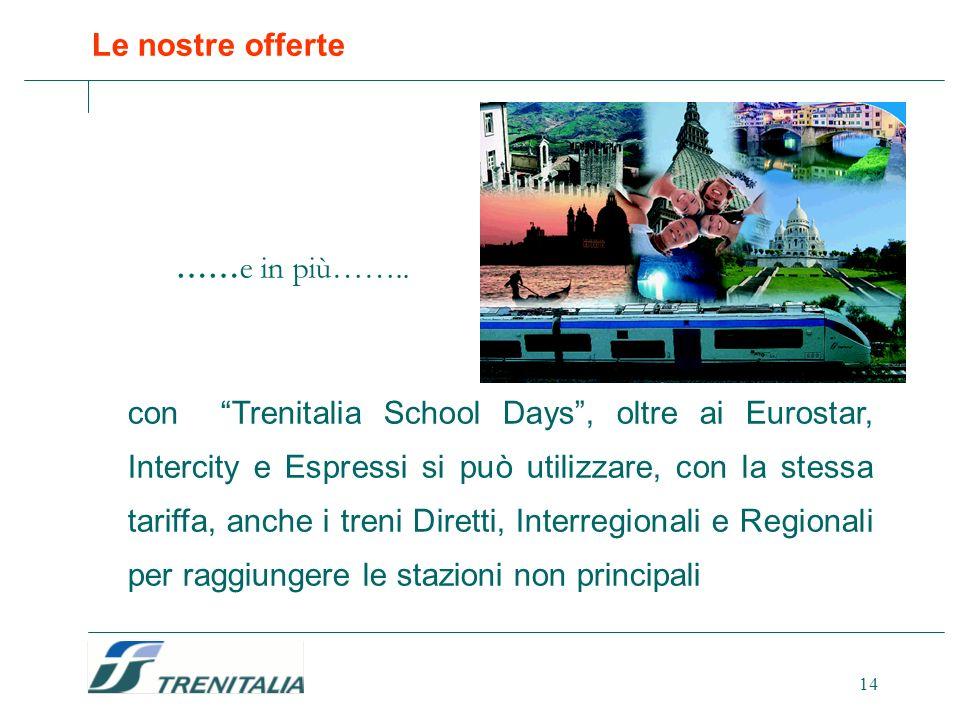 14 ……e in più…….. con Trenitalia School Days, oltre ai Eurostar, Intercity e Espressi si può utilizzare, con la stessa tariffa, anche i treni Diretti,