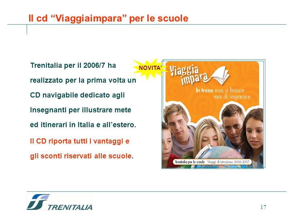 17 Trenitalia per il 2006/7 ha realizzato per la prima volta un CD navigabile dedicato agli Insegnanti per illustrare mete ed itinerari in Italia e al