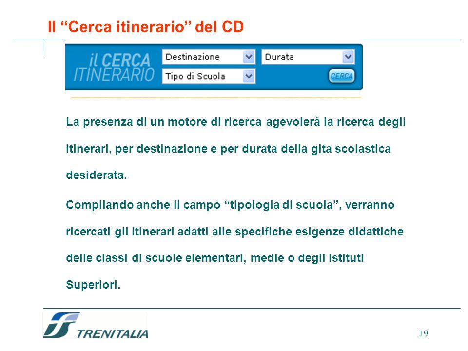 19 Il Cerca itinerario del CD La presenza di un motore di ricerca agevolerà la ricerca degli itinerari, per destinazione e per durata della gita scola