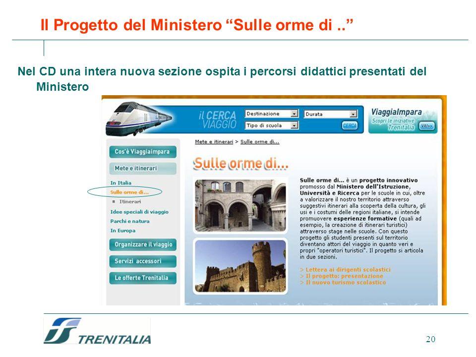 20 Il Progetto del Ministero Sulle orme di.. Nel CD una intera nuova sezione ospita i percorsi didattici presentati del Ministero