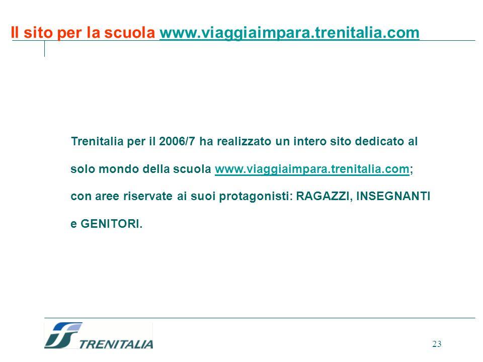 23 Trenitalia per il 2006/7 ha realizzato un intero sito dedicato al solo mondo della scuola www.viaggiaimpara.trenitalia.com; con aree riservate ai s