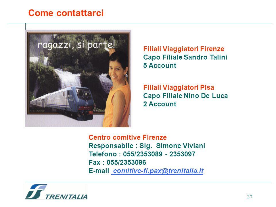 27 Come contattarci Centro comitive Firenze Responsabile : Sig. Simone Viviani Telefono : 055/2353089 - 2353097 Fax : 055/2353096 E-mail comitive-fi.p