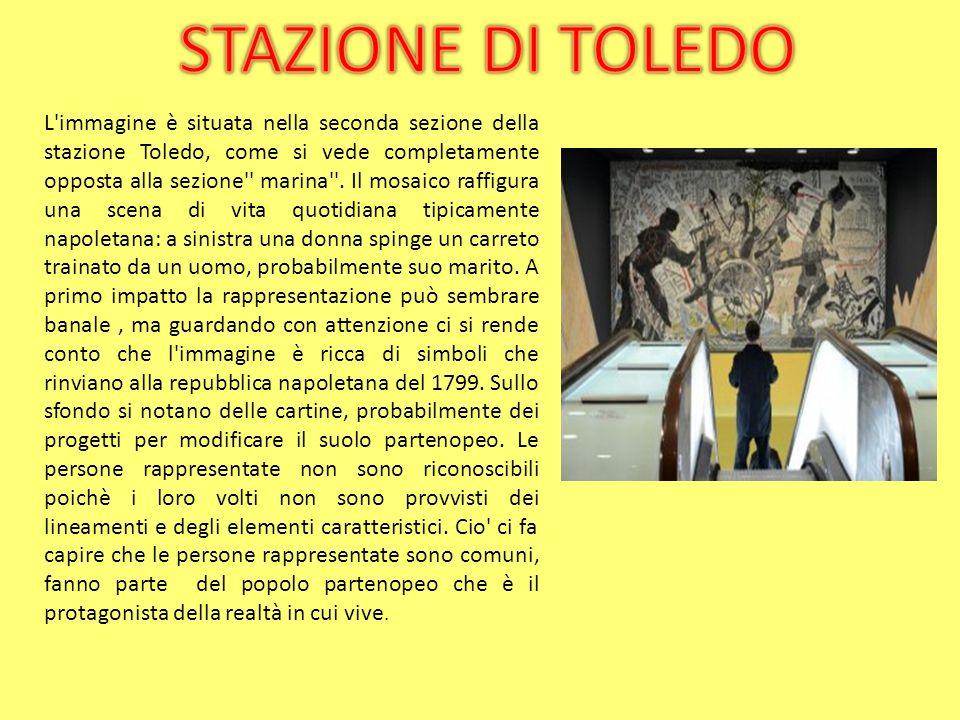 Il mosaico qui rappresentato, situato anch esso nella seconda sezione della stazione metropolitana di Via Toledo, rappresenta varie figure in movimento che conferiscono dinamicità all intera opera.